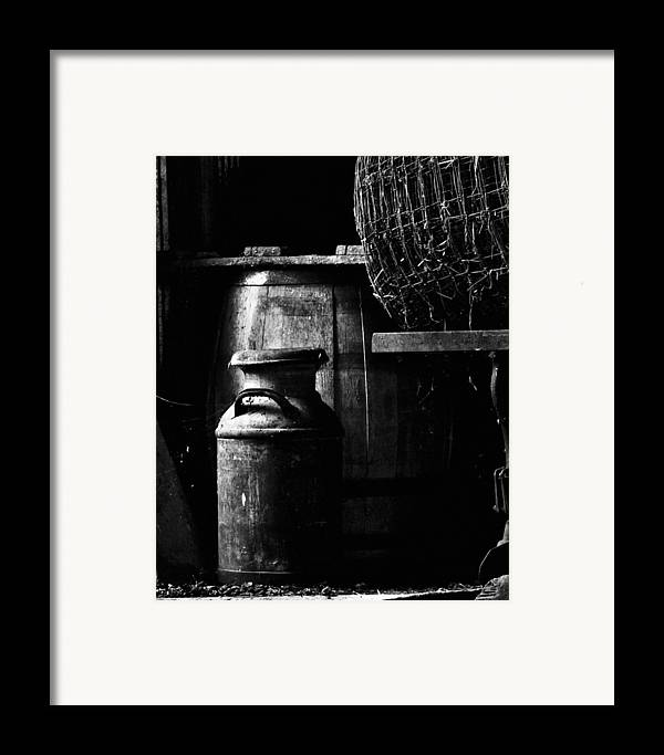 Antique Framed Print featuring the photograph Barrel In The Barn by Jim Finch