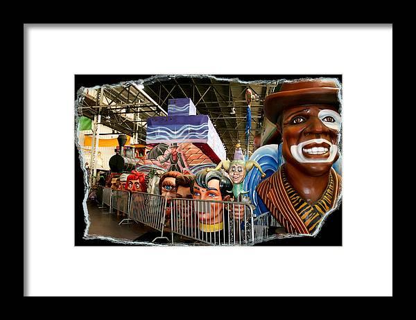 Mardi Gras World Framed Print featuring the photograph Barricade Heads by Linda Kish