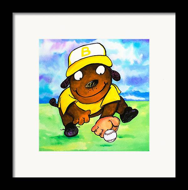 Dog Framed Print featuring the painting Baseball Dog 3 by Scott Nelson