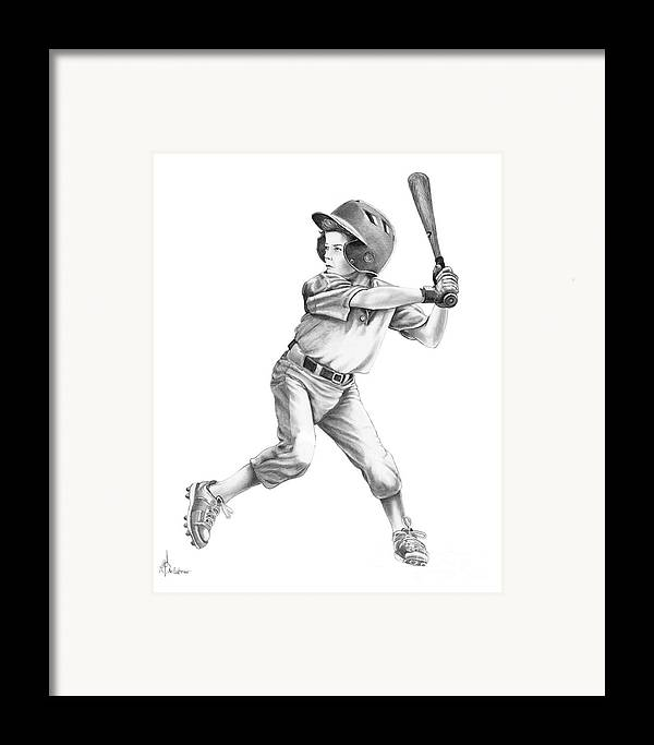 Drawing Framed Print featuring the drawing Baseball Kid by Murphy Elliott