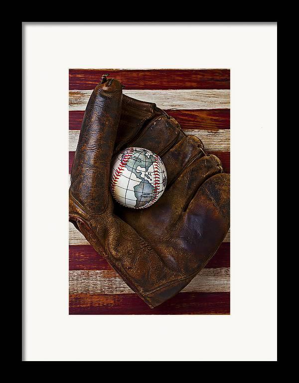 Folk Art American Flag Framed Print featuring the photograph Baseball Mitt With Earth Baseball by Garry Gay