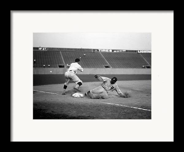 1920s Framed Print featuring the photograph Baseball. Ty Cobb Safe At Third by Everett