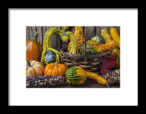 Gourd Framed Print featuring the photograph Basket Full Of Gourds by Garry Gay