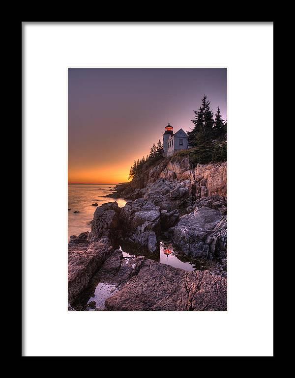 Bass Harbor Framed Print featuring the photograph Bass Head Harbor Lighthouse by Gerry Mann