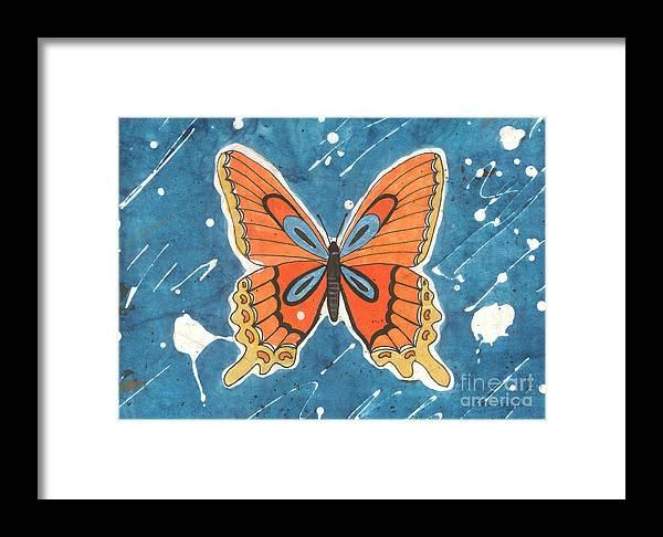 Ink Framed Print featuring the painting Batik Butterfly by Billinda Brandli DeVillez