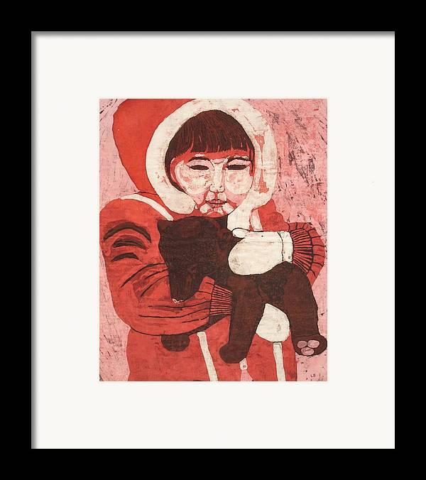 Fabric Framed Print featuring the painting Batik -girl W Bear- by Lisa Kramer