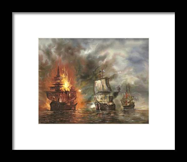Battle Framed Print featuring the painting Battle by Eric Sosnowski