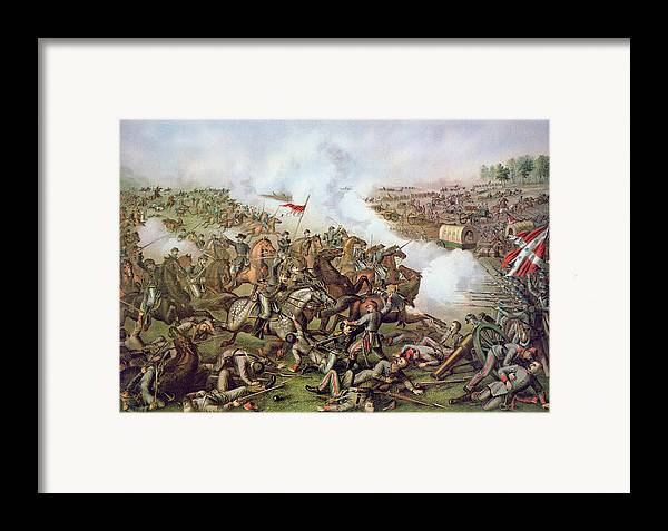 Warfare; Soldiers; Troops; Confederate; Flag; Union; Army; Soldiers; Gunfire; Battlefield; Horseback; Landscape; Conflict; U S; U S A Framed Print featuring the painting Battle Of Five Forks Virginia 1st April 1865 by American School