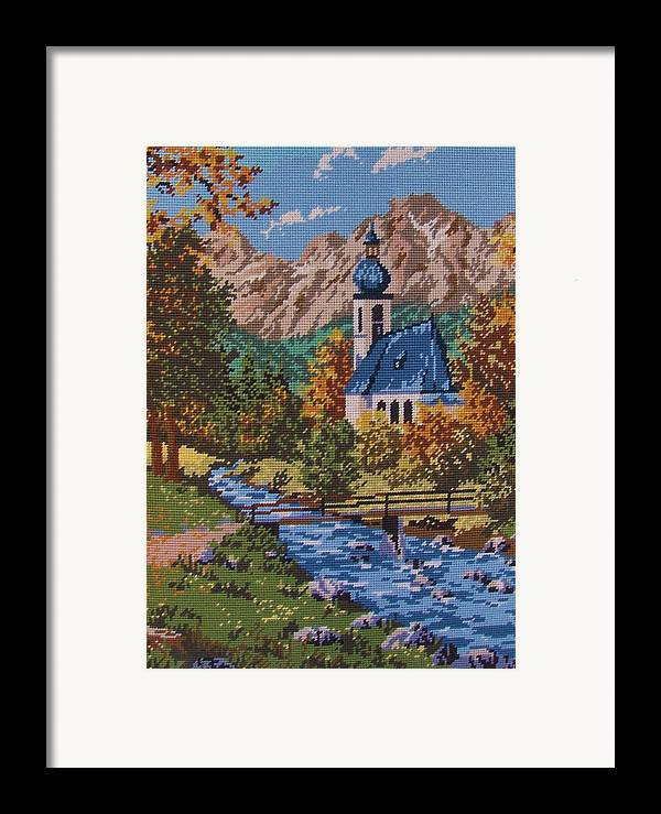 Bavarian Framed Print featuring the tapestry - textile Bavarian Country by M and L Creations Craft Boutique