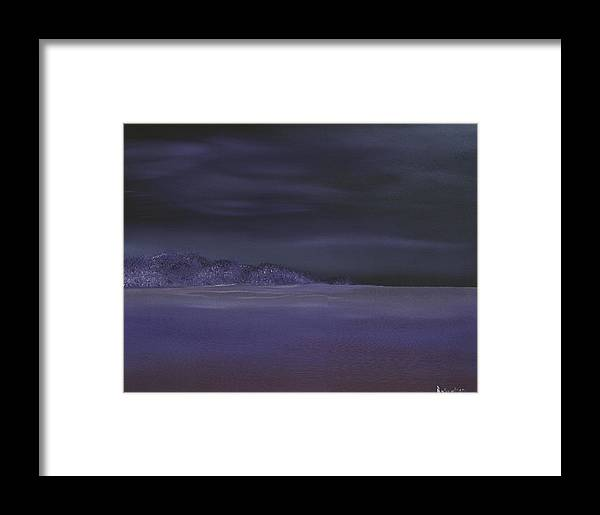 Seascape Framed Print featuring the painting Bay At Night #1 by Thomas Robertson II