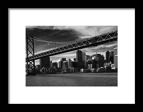 Bay Bridge Framed Print featuring the photograph Bay Bridge And San Francisco Downtown by Laszlo Rekasi