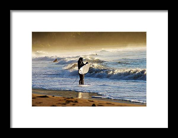 Surfing Framed Print featuring the photograph Beach Break by Lennie Green