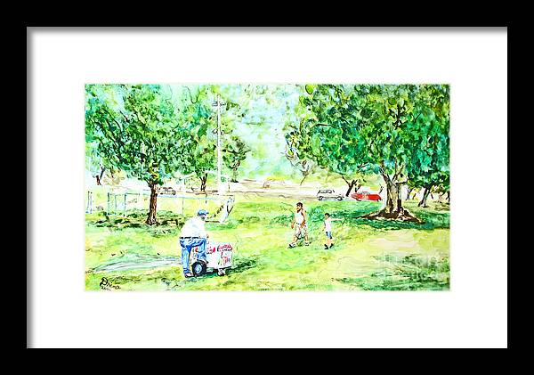 Park Framed Print featuring the mixed media Beach Park by Drina Fried
