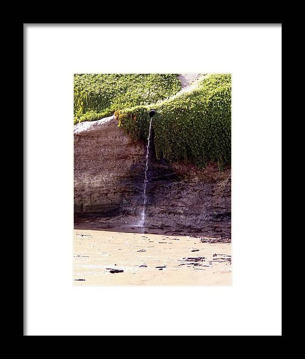 Framed Print featuring the photograph Beach Waterfall by Liz Barton-de Paul