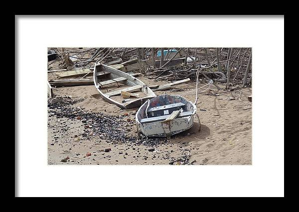 Boat Framed Print featuring the photograph Beached by Jessica Cruz