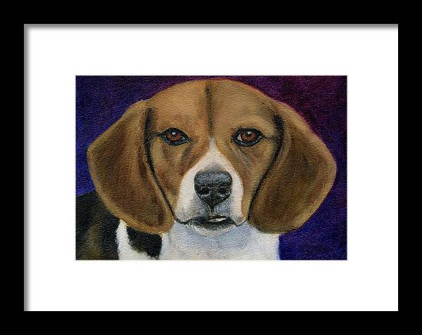 Beagle Framed Print featuring the painting Beagle Puppy by Michelle Wrighton