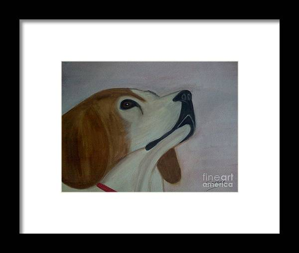 Beagle Framed Print featuring the painting Beagle by Serene Clontz