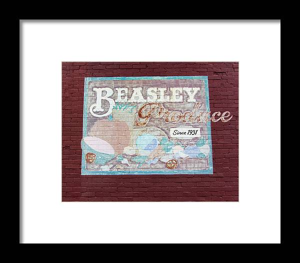 Vintage Sign Framed Print featuring the photograph Beasley Produce Since 1931 by Kathy Clark