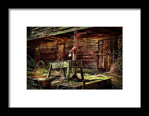 Country Framed Print featuring the photograph Beaten Down Barn Building by Trudy Wilkerson