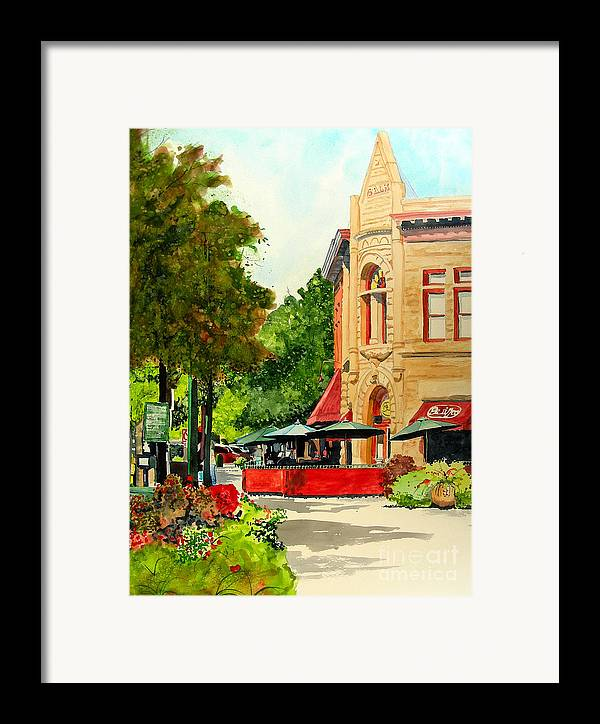 Watercolor Framed Print featuring the painting Beau Jo's Down Low by Tom Riggs