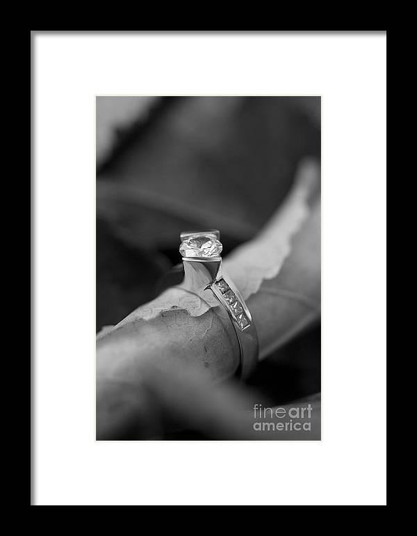 Solitaire Diamond Framed Print featuring the photograph Beautiful Engagement Two by Brooke Roby