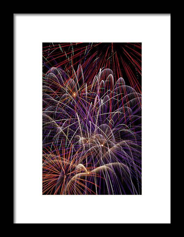 Fireworks 4th Of July Framed Print featuring the photograph Beautiful Fireworks by Garry Gay