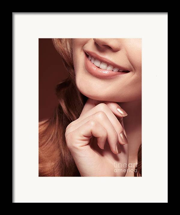 Mouth Framed Print featuring the photograph Beautiful Young Smiling Woman Mouth by Oleksiy Maksymenko