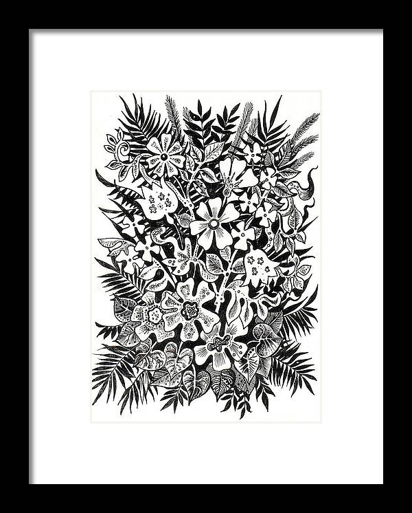 Framed Print featuring the drawing Bells And Cornflowers by Margarita Kobyzova