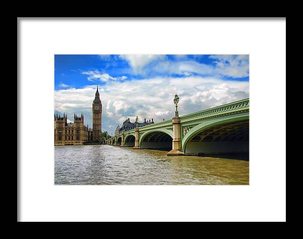 Big Ben Framed Print featuring the photograph Ben And The Bridge by Donna Lee Blais