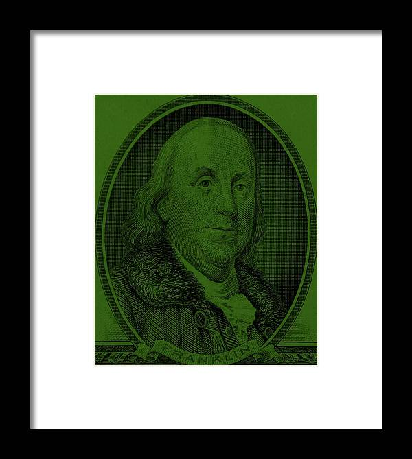 Ben Franklin Framed Print featuring the photograph Ben Franklin In Dark Green by Rob Hans