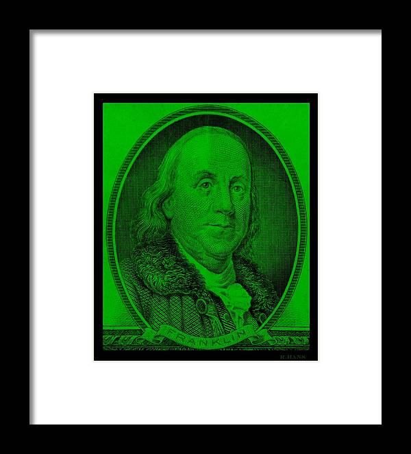 Ben Franklin Framed Print featuring the photograph Ben Franklin In Green by Rob Hans