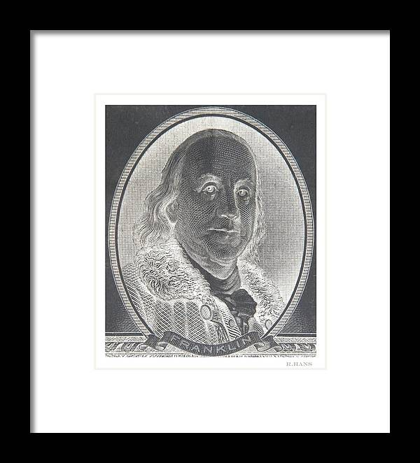 Ben Franklin Framed Print featuring the photograph Ben Franklin In Negative by Rob Hans
