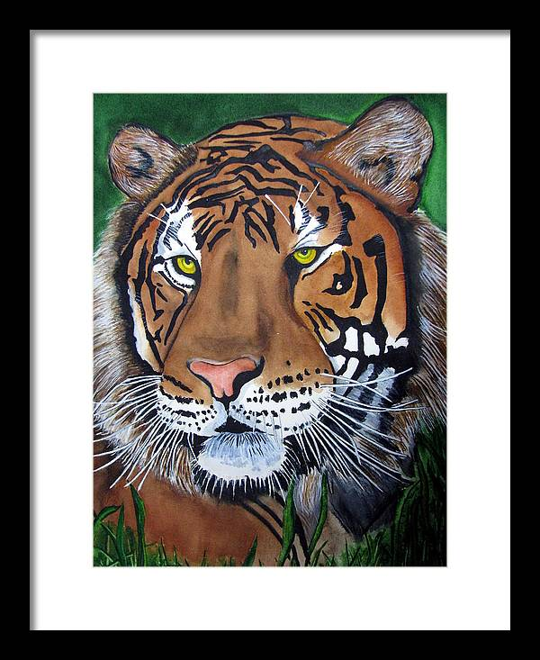 Tiger Framed Print featuring the painting Bengal Tiger by Emmanuel Turner