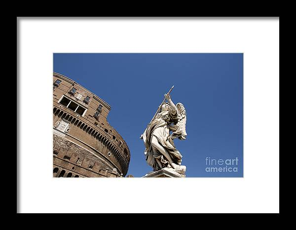 Works Framed Print featuring the photograph Bernini Statue On The Ponte Sant Angelo by Bernard Jaubert