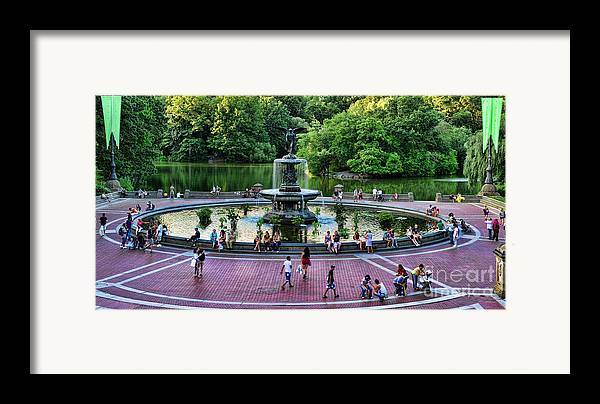 Bethesda Fountain Framed Print featuring the photograph Bethesda Fountain Overlooking Central Park Pond by Paul Ward