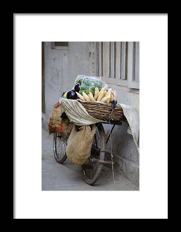 Activity Framed Print featuring the photograph Bicycle Loaded With Food, Delhi, India by David DuChemin