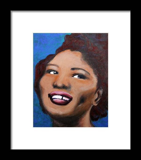 Blues Framed Print featuring the painting Big Mama Thornton by Carolyn Veldbloem