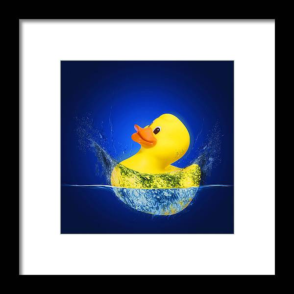 Blue Background Framed Print featuring the photograph Big Splash by Robert Hudnall