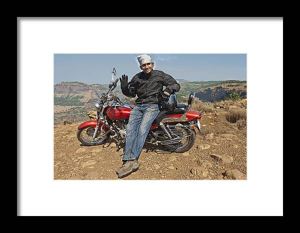 Interesting Framed Print featuring the photograph Biker Waves by Kantilal Patel