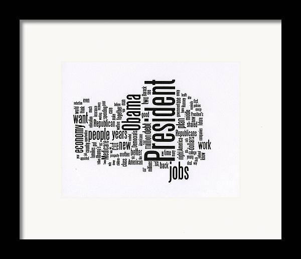 Bill Clinton Framed Print featuring the photograph Bill Clinton Nominating Wordcloud by David Bearden