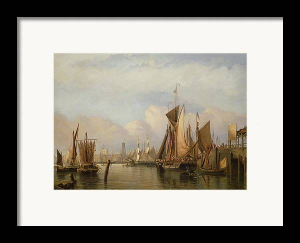 Docked Boats Framed Print featuring the painting Billingsgate Wharf by John Wilson Carmichael