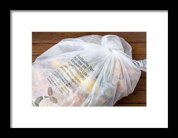 Bag Framed Print featuring the photograph Biodegradable Plastic Bag by Sheila Terry