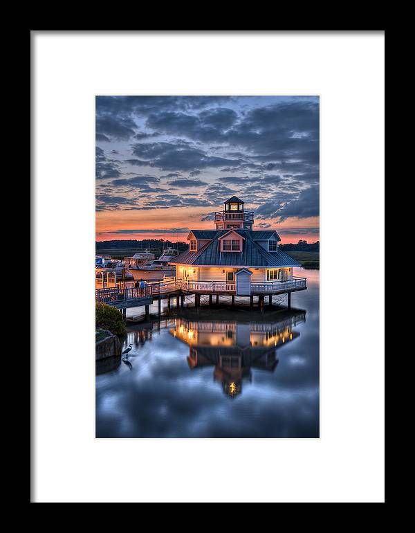Smithfield Framed Print featuring the photograph Bird And Sundown On The Pagan River by Williams-Cairns Photography LLC