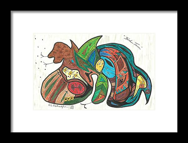 Bird Print Framed Print featuring the drawing Bird Jam by Carolyn L Schaefer