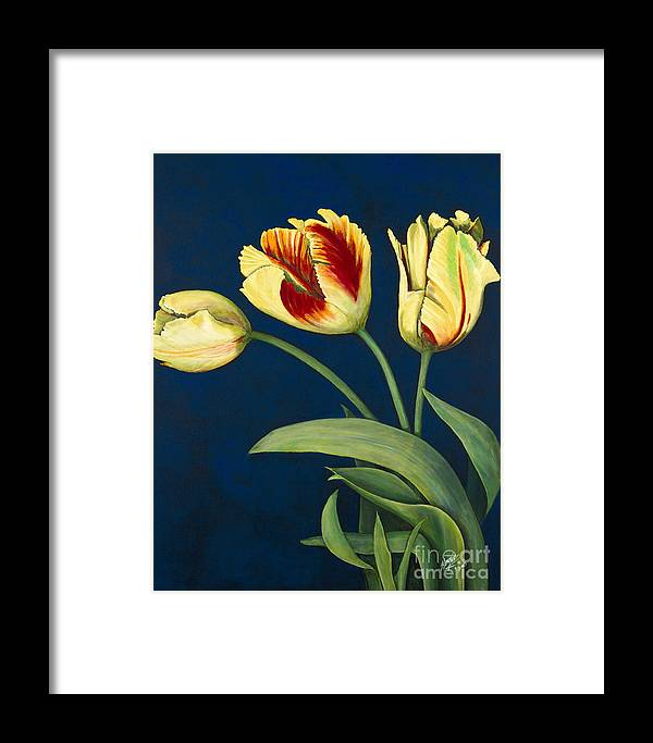 Konnie Laumer Framed Print featuring the painting Bird Of Paradise Tulips by Konnie Laumer