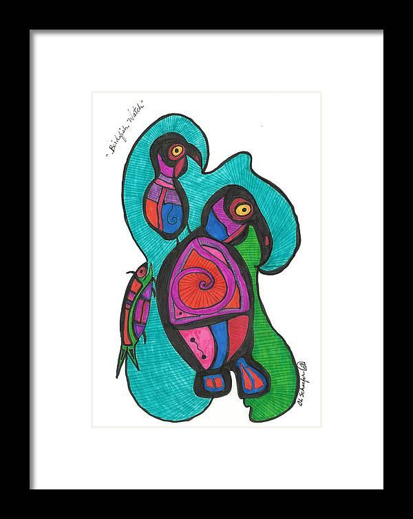 Bird Print Framed Print featuring the drawing Birdfish Watch by Carolyn L Schaefer
