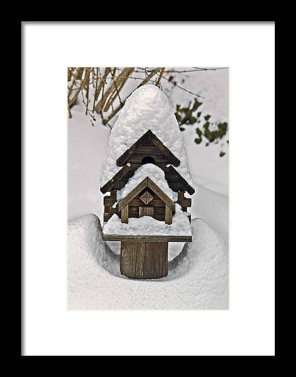 Snow Framed Print featuring the photograph Birdhouse In Snow by Susan Leggett