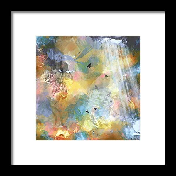 Birds Framed Print featuring the painting Birds In A Nebula by Carly Ralph