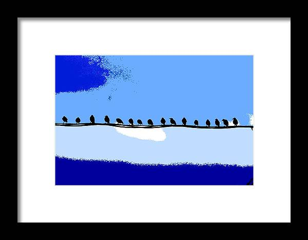 Birds Framed Print featuring the photograph Birds On Wire by Burney Lieberman