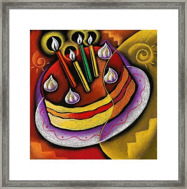 Birthday Cake Framed Print by Leon Zernitsky
